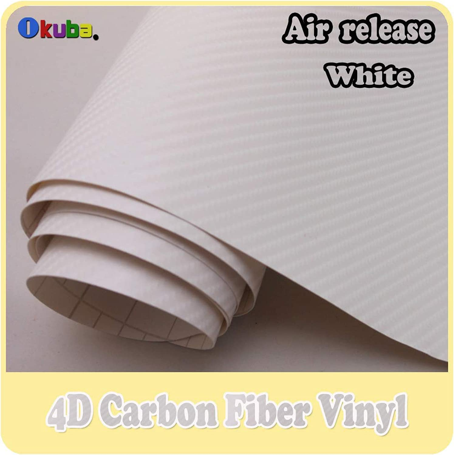 High Quality Shipping White 4D Carbon Fiber Vinyl for Car Decals with Air Drains Size 1.52m30m