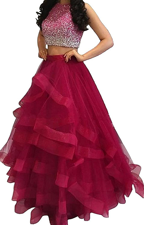 Dressytailor Women's Two Piece Floor Length Organza Prom Dress Beaded Evening Gown