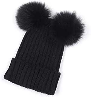 Malbaba Women Fashion Warm Winter Beanie Caps Knitted Wool Hemming Hat with Two Pompom Balls