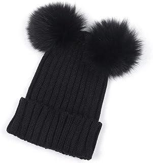 4Clovers Hairball Hat, Winter Women's Mickey Mouse Beanie Crochet Wool Hat Warm Knit Block Ski Cap Pom Pom
