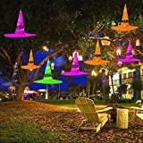 AGKupel Hexenhut Halloween Dekorationen 5 Stück Hänge beleuchtet leuchtende Hexenhut Dekorationen Halloween Lichter String Halloween Dekor für Outdoor, Hof, Baum
