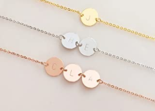 A Personalized Hand Stamped Initial Disc Gold Silver Rose Gold Necklace - 2CN-G