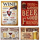 UOOPAI Tin Sign Wall Decor Retro Metal Plaque Bar Pub Vintage Poster Set of 4 with No Working Beer Wine Group Therapy