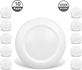 JULLISON 10 Packs 4 Inch LED Low Profile Recessed & Surface Mount Disk Light, Round, 10W, 600 Lumens, 3000K Warm White, CRI80, DOB Design, Dimmable, ENERGY STAR, ETL Listed, White