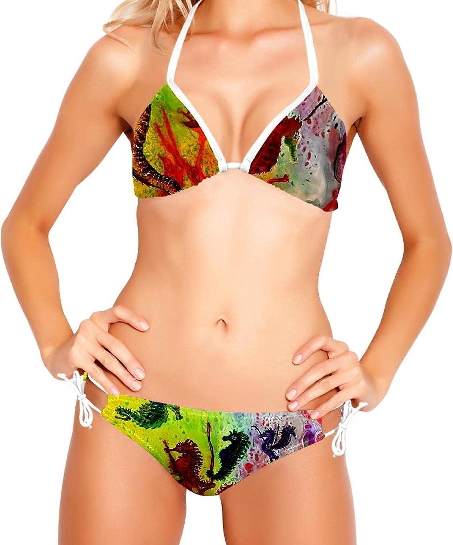 Conjunto de Bikini para Mujer Trajes de baño de 2 Piezas con Estampado Floral, Arte Abstracto Animal Hippocampu SART