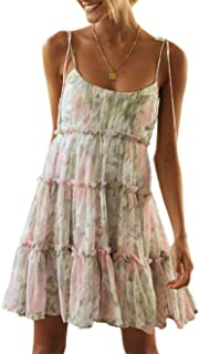 Damen Blumen Sommerkleid Kurz Blumen Kleider Böhmisch Kleider Ärmellose Kleider Strandkleider