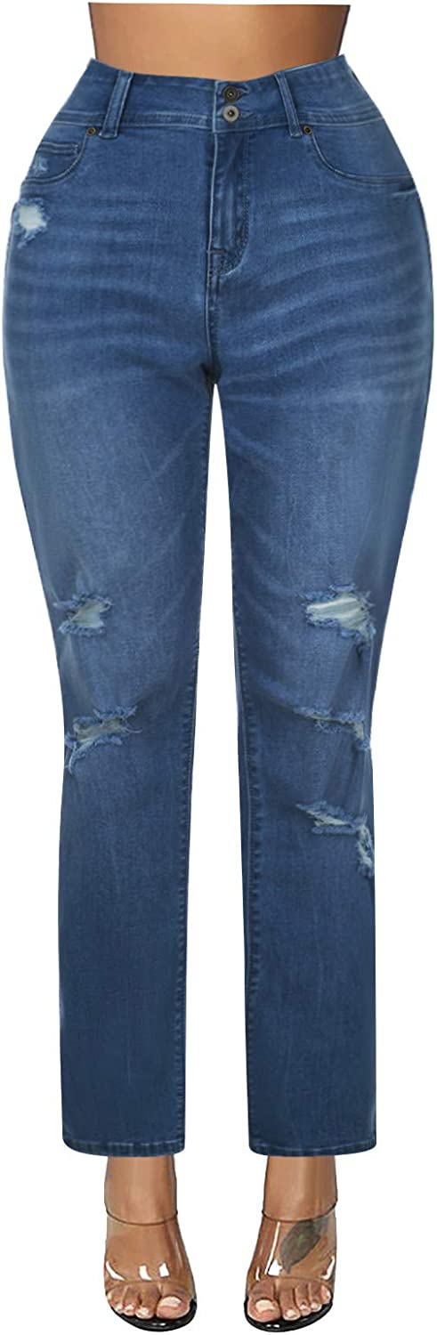 Jeans for Women,Women's Casual Classic Loose Fit Solid Distressed Hole Straight High Waist Denim Jeans Trousers