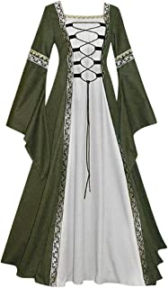 FAPIZI Womens Vintage Dresses Celtic Long Sleeve Medieval Maxi Dresses Renaissance Gothic Cosplay Princess Dress