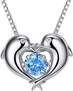 Blue Pendant Necklace for Women Friendship Mermaid Dolphin Tail Charms Necklaces Mother Daughter Jewelry Gift 925 Sterling Silver 18K White Gold Plated Cubic Zirconia Diamond Fashion for Girls Best Friends