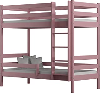 Children's Beds Home - Lit superposé en bois massif – Theo for Kids Toddler Junior – Taille 180 x 80 cm, couleur rose, tir...