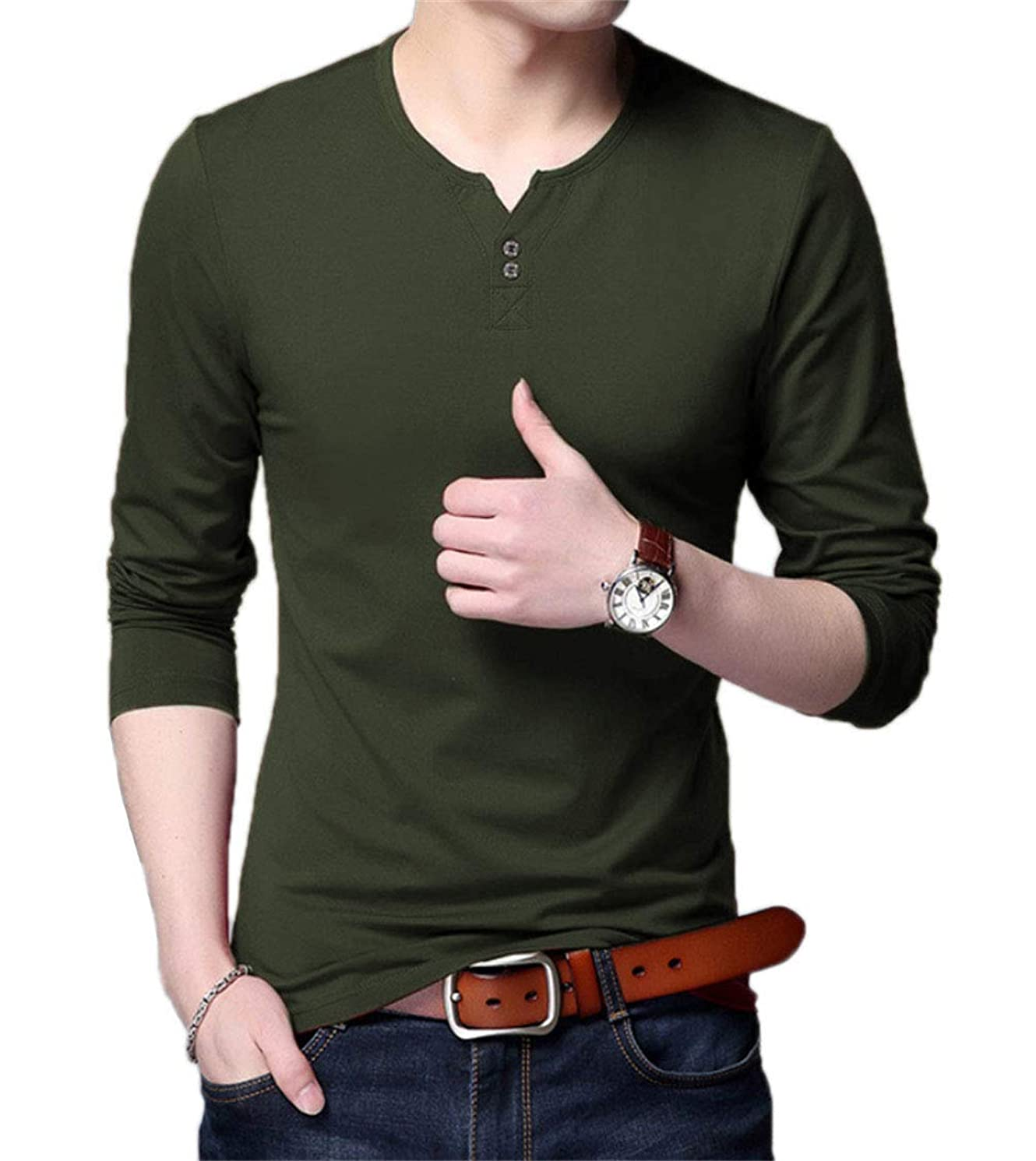 Aiyino Mens Casual Slim Fit Shortg Sleeve Henley T-Shirts Cotton Shirts