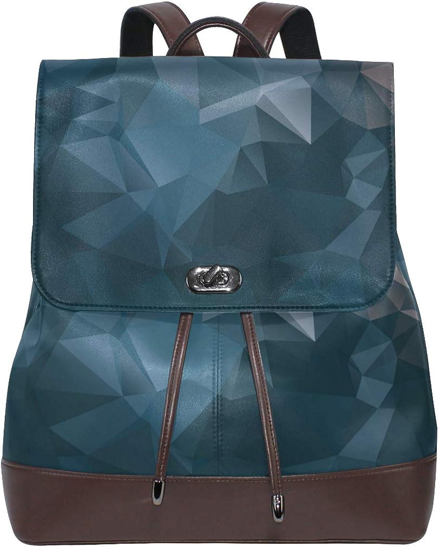 FAJRO Ink Abstract Geometrical Figure Travel Backpack Leather Handbag School Pack