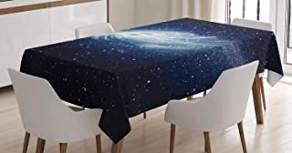 Ambesonne Space Decorations Tablecloth, Spiral Galaxy Image Space and Stars Celestial Cosmos Expanse Universe Modern Print, Dining Room Kitchen Rectangular Table Cover, 52