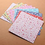 Origami Paper 72 hojas de forma cuadrada 15x15cm color de la mezcla 12 tipos patrones de papel del arte de papel Origami de la flor plegable papeles con diseños DIY del regalo del cabrito Origami Shee