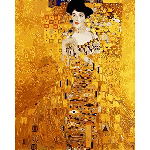 BPAINTF Malen nach Zahlen DIY goldene Dame Adele Figur leinwand drucken Bild für Wohnzimmer Dekoration 50x65 cm DIY gerahmt