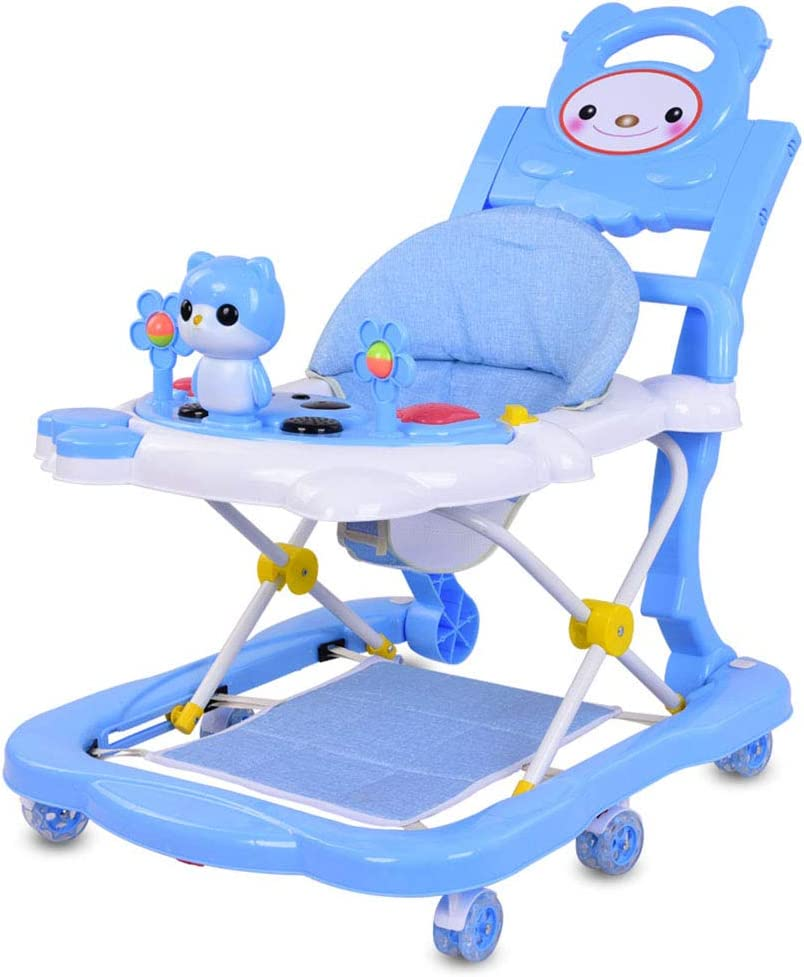 Baby Carriage 4 in 1 Baby Walker with Push Handle Detachable Game Music Player Tray Foot Pad Heights Adjustable Folding Toddler