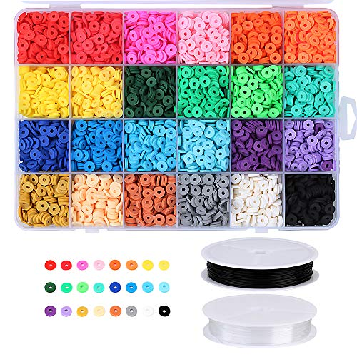 Hangine Heishi Polymer Clay Spacer Beads Flat Round,African Vinyl Disc Beads 6mm with Elastic Cord for Jewelry Making Supplies Bracelets Earring Necklaces 5040Pcs 24 Rainbow Colors
