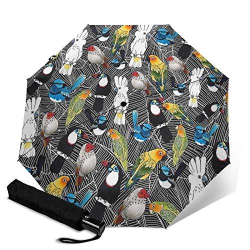 ZEH Prima a Prueba de Viento del Paraguas, Aves del paraíso Viaje Plegable automático de Tres Paraguas Plegable Paraguas Compacto de Peso Ligero Sunrain Paraguas FACAI