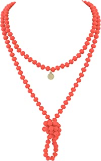 First meet Fashion Natural Round Beads 60'' Long Strand Art Deco Necklace for Women Men