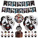 101 Pcs Sirens Double Heads Birthday Party Supplies, Scary Double Head Halloween Party Decorations for Kids Adults with Happy Birthday Banner, DIY Cake Topper Stickers Cupcake Toppers Balloons