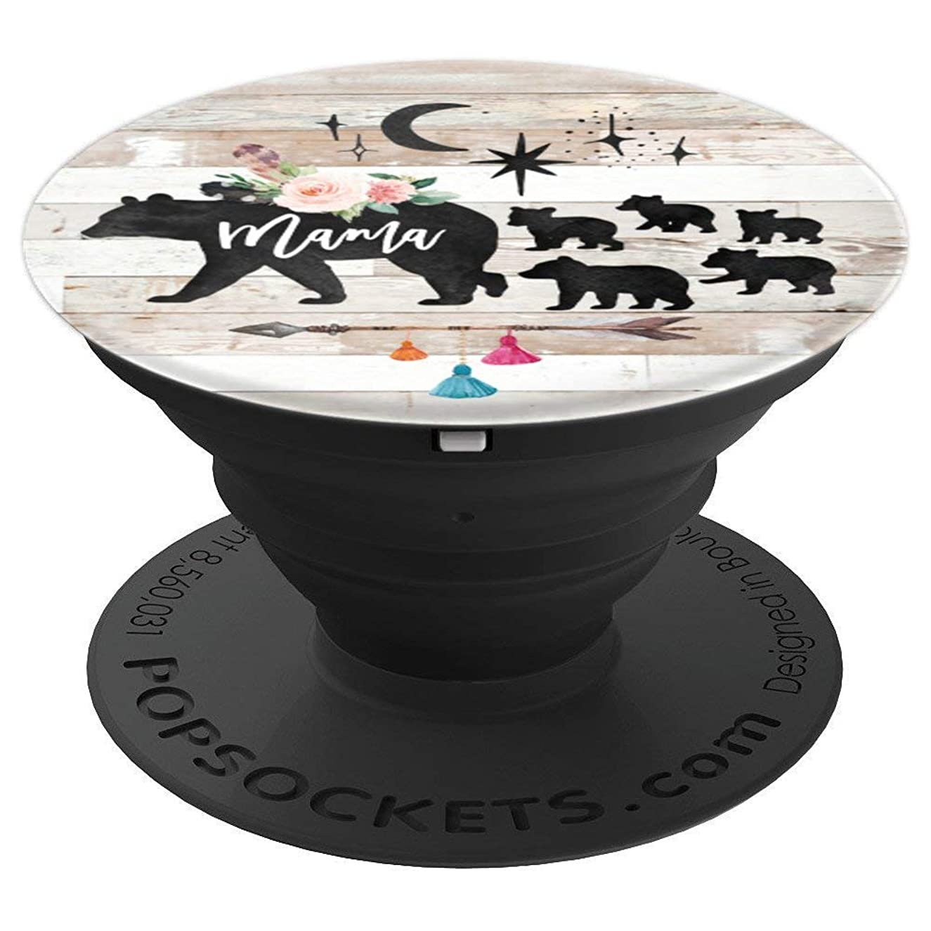 Mama Bear Five Baby Cubs Rustic Barn Wood Floral Boho Arrow - PopSockets Grip and Stand for Phones and Tablets