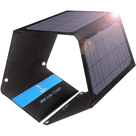 BigBlue ソーラーチャージャー 28W (最大4.8A出力)ソーラーパネル ソーラー充電器 3USBポート 防水 太陽光で充電 バッテリーパック ソーラーパネル4枚搭載 地震 災害時 アウトドア バッテリーパックiPhone/iPad/Samsungおよび他のスマートホンと互換性あり