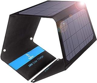 BigBlue ソーラーチャージャー 28W ソーラーパネル ソーラー充電器 3USBポート最大4.8A出力防水 太陽光で充電 バッテリーパック ソーラーパネル4枚搭載 地震 災害時 アウトドア バッテリーパックiPhone/iPad/Sams...