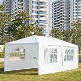 Tonnelle de Jardin Tonnelle Pliante Imperméable Tente de Reception 3X6m avec 6 Parois aux UV Pavillon Blanc Bâche PE Epaisse de env pour Fête Marriage Les Activités Commerciales