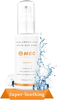 HEC Cool Down Hydrating After Sun Spray mist – Pure Organic Sunburn Relief & Cooling Hot Flashes with Vitamin B5 and Hyaluronic Acid -2 fl.oz