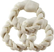 BBDOGO Braided Ring for Pets Braided Rawhide Rings for Large Medium Dogs CW018