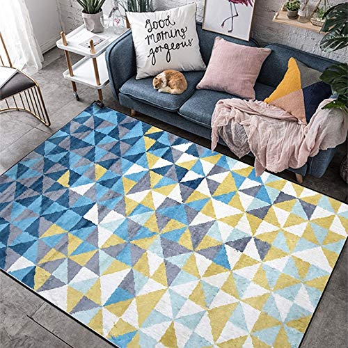 KFEKDT Alfombra Minimalista nórdica Sala de Estar Dormitorio Habitación Infantil Alfombra de impresión geométrica Alfombrilla de baño A7 100x160cm