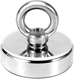 130 LBS Pulling Force Rare Earth Magnet, Super Strong Neodymium Fishing Magnets with countersunk Hole Eyebolt Diameter 1.89 inch(48mm) for Magnetic Fishing and Retrieving in River