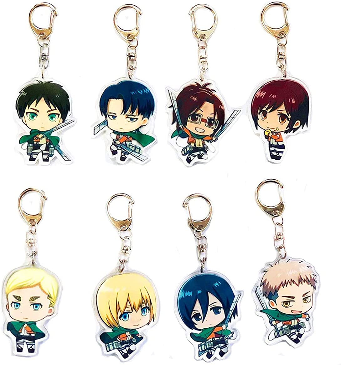 8PCS Attack On Titan Keychain, Anime Keychain for Kid, 8 Collectible Figure Keychains Pendant Hanging for Key, Card, Anime Figure Keyring Accessories