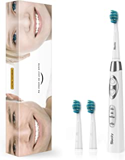 Electric Toothbrush, 4 Hours USB Fast Charge 30 Days Use Sonic Electric Toothbrush with 3 Modes and 3 Brush Heads, 55g Lightweight for Travel, Waterproof by Sboly, SY-917