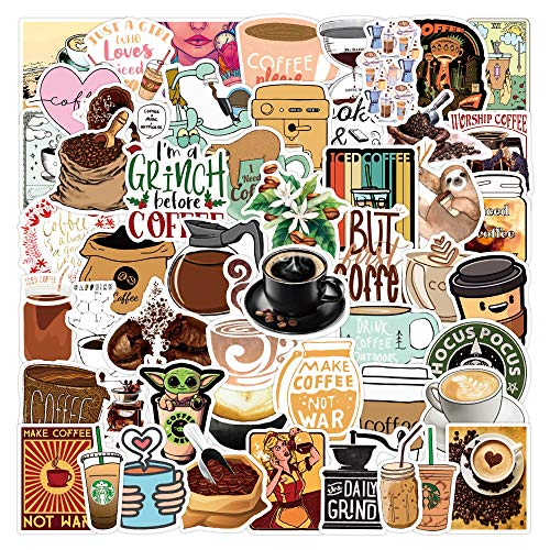 YCYY 50 Coffee Coffee Graffiti Stickers Waterproof Luggage Notebook Scooter Water Cup Stickers