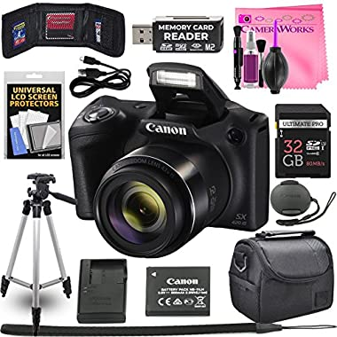 Canon Powershot SX420 IS 20 MP Wi-Fi Digital Camera with 42x Zoom (Black) Includes: Canon NB-11LH Battery & Canon Charger + 9pc 32GB Deluxe Accessory Kit w/Camera Works Cloth & Cleaning Solution