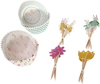 24 Sets Rabbit Flower Design Cake Toppers and Cupcake Wrappers Kits Wedding Party Supplies Favors