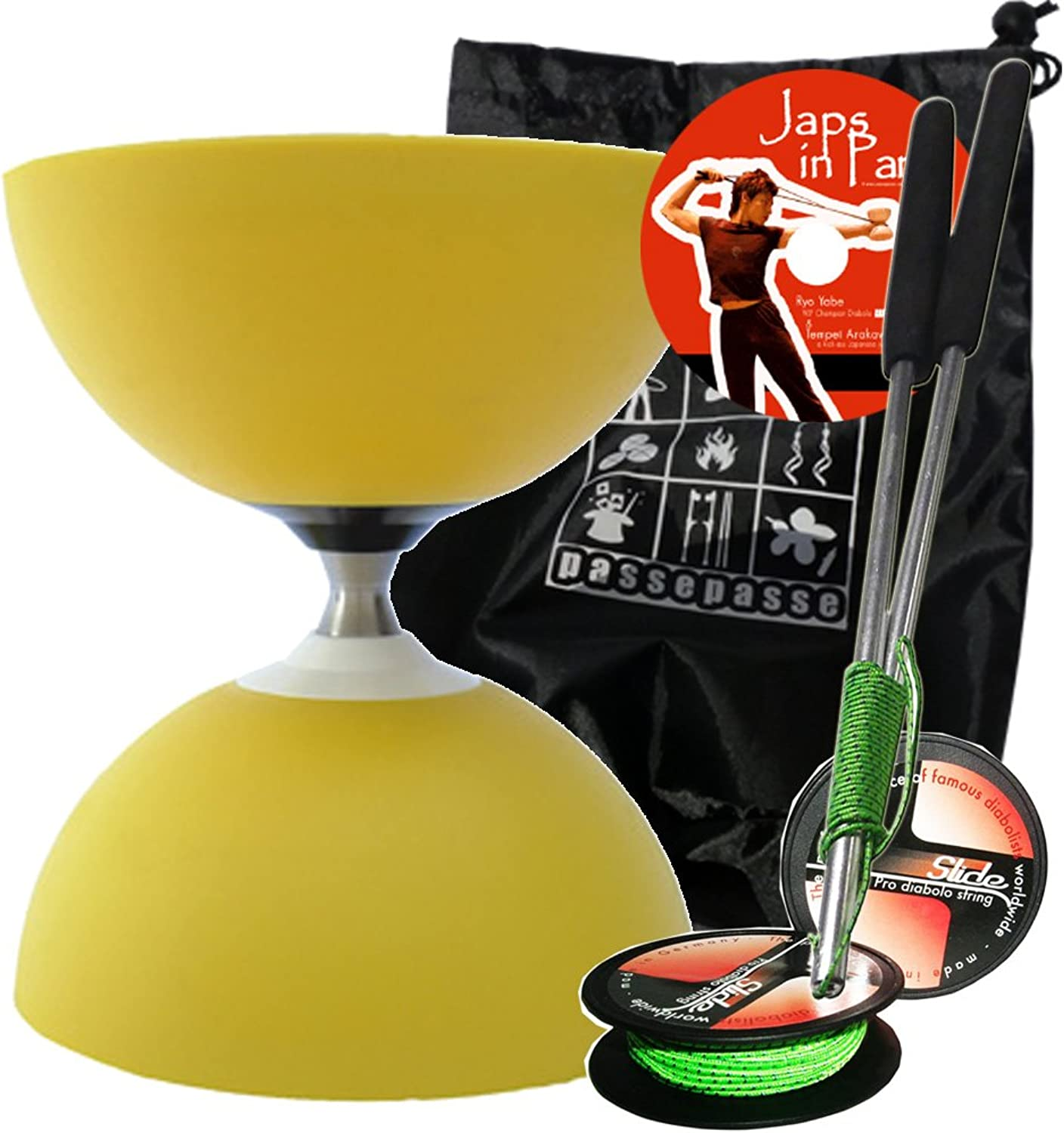 Henrys Circus Diabolo with ''Free'' Hub (one way bearing) Yellow with professional aluminium sticks  SLIDE PRO  10m Diabolo string. comes with a nylon drawstring bag for storage and travel.