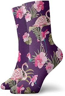 Tedtte, Pink Flamingo Palm Leaves Socks Calcetines de cuello unisex Calcetines de vestir
