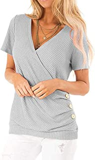 T Shirts for Women,Women Lady's Semmer Solid Short Sleeve Casual V Neck Button Tunic Tops Blouse