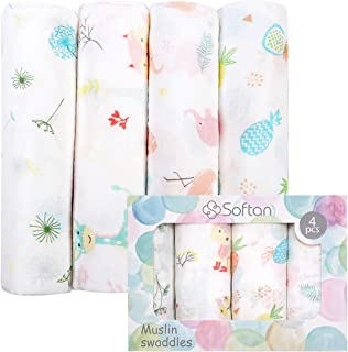 softan Muslin Baby Swaddle Blankets, Bamboo Cotton Receiving Blankets for Boys and...