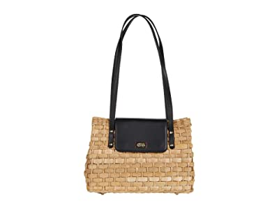 Frances Valentine Gigi Cornhusk Top-Handle Satchel (Natural/Black) Satchel Handbags