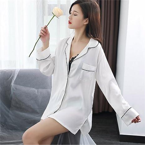 SMC Pijamas para mujer Camisa Blanca de Manga Larga Sexy ...