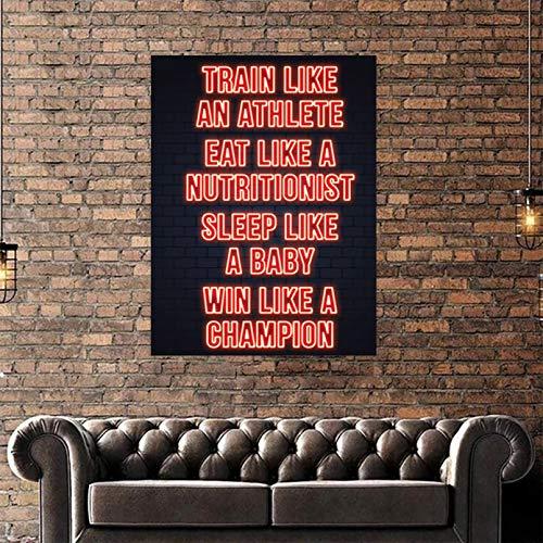 MINMIN Lote de Lienzo Impreso con Letras Rojas, Pinturas Negras, póster de Pared Simple, imágenes geniales para Sala de Estar, decoración Moderna para el hogar Regalo de cumpleaños -24x32inch