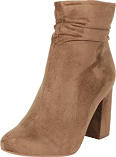 Cambridge Select Women`s Ruched Slouchy Chunky Block Heel Ankle Bootie