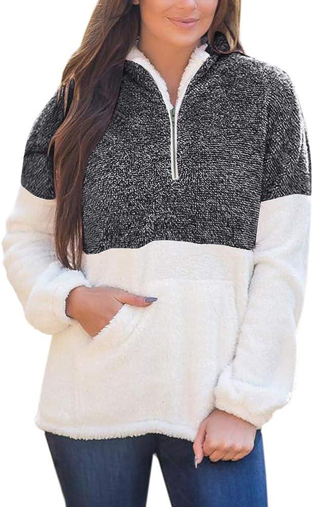 Yskkt Plus Size Sherpa Pullover Womens Sweatshirt Half Zip Fuzzy Fleece Jacket Winter Coat Outwear with Pockets