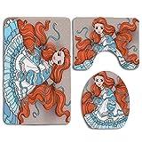 Belleza de cabello rojo en estilo retro Ropa de muñeca victoriana Obra de arte femenina mágica Juego de alfombras de baño antideslizantes de 3 piezas para baño Alfombra de contorno en forma de U Alfom