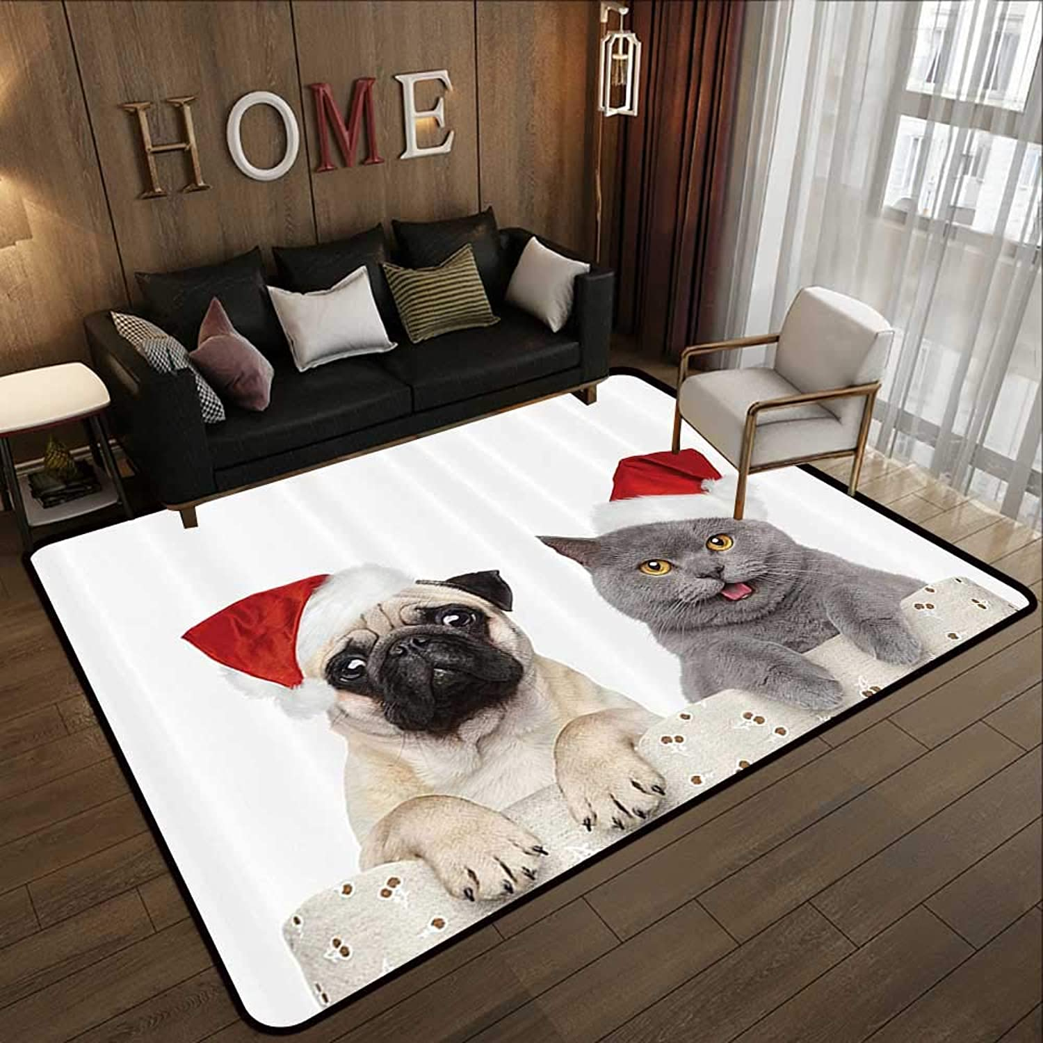 Floor mat,Pug,Christmas Themed Animal Photography with a Cat and Dog Wearing Santa Hats Print,Grey Cream Red 35 x 59  Indoor Outdoor Rubber Mat