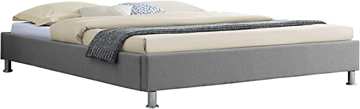 IDIMEX Lit futon Double pour Adulte Nizza Couchage Queen Size 160 x 200 cm 2 Places / 2 Personnes, avec sommier et Pieds en métal chromé, revêtement en Tissu Gris