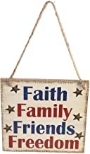 Soochat 4th of July Wooden Hanging Sign,Patriotic Wooden Hanging Sign,Fourth of July Independence Day Decorations,Faith Family Friends Freedom